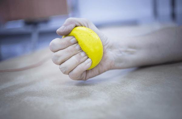 Rheumatoid arthritis squeezing physiotherapy ball