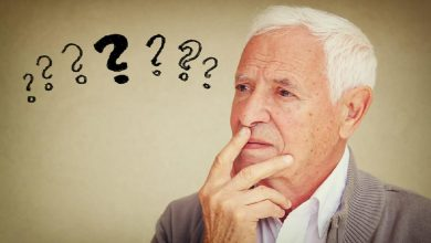 image of senior man thinking with set of question marks icons